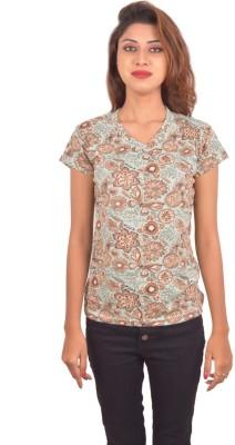 Blueash Floral Print Women's V-neck Green T-Shirt