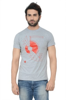 Karnik Couture Printed Men's Round Neck Grey T-Shirt
