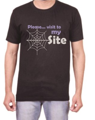 Teeswood Graphic Print Men's Round Neck Black T-Shirt