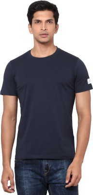 La Seven Solid Men's Round Neck Dark Blue T-Shirt