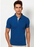Riverstone Solid Men's Polo Neck Blue T-...