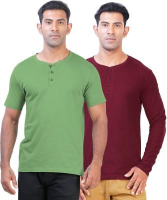 Click Hit Solid Men's Henley Green, Maroon T-Shirt