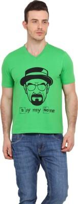 Filmwear Graphic Print Men's V-neck Green T-Shirt