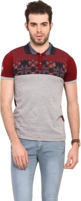 Mode Vetements Solid Men's Mandarin Collar Maroon T-Shirt