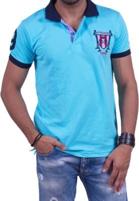 Cotton & Blends Solid Men's Polo Neck Light Blue T-Shirt