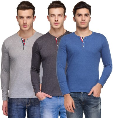 TSX Solid Men's Henley Multicolor T-Shirt