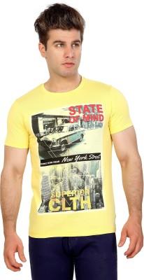 Maniac Graphic Print Men's Round Neck Yellow T-Shirt