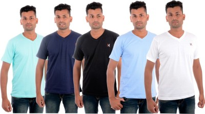 Moladz Solid Men's V-neck Multicolor T-Shirt