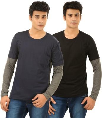 BrownBird Solid Men's Round Neck Black, Blue T-Shirt