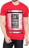 Bornleaf Printed Men's Round Neck Red T-...