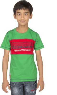 Ocean Race Printed Boy's Round Neck Green, Red T-Shirt