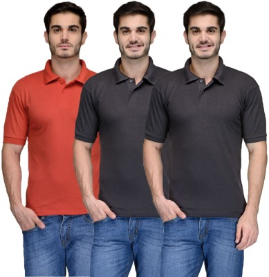 Feed Up Solid Men's Polo Neck Black, Red T-Shirt