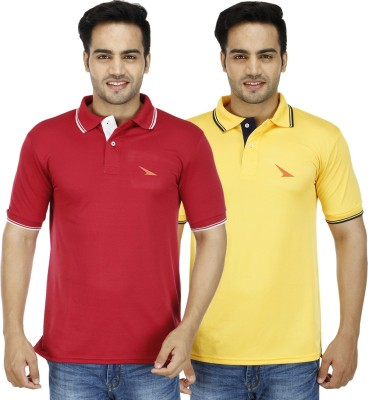 PRO Lapes Solid Men's Polo Neck Yellow, Maroon T-Shirt
