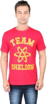 Redwolf Graphic Print Men's Round Neck Red T-Shirt