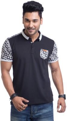 Cult Fiction Solid Men's Polo Neck Black T-Shirt