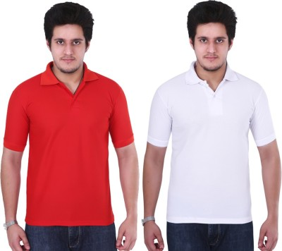 NGT Solid Men's Polo Neck White, Red T-Shirt