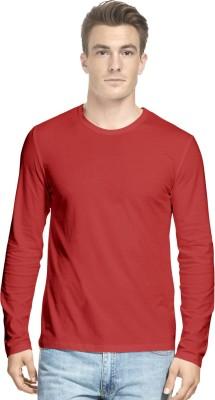 Hueman Solid Men's Round Neck Red T-Shirt