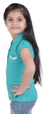 Triki Polka Print Baby Girl's Flap Collar Neck Green T-Shirt