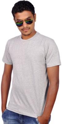 Amla Solid Men's Round Neck Grey T-Shirt