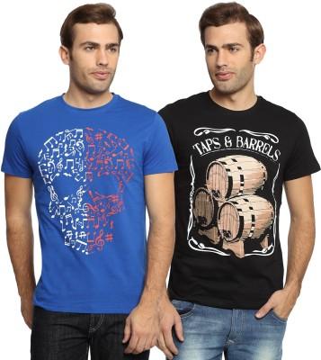 SharkTribe Printed Men's Round Neck Blue, Black T-Shirt