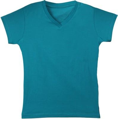 F FASHIONSTYLUS Solid Girl's V-neck Blue T-Shirt