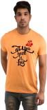 Snoby Printed Men's Round Neck Orange T-...