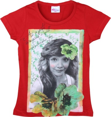 Eimoie Printed Girl's Round Neck Red T-Shirt