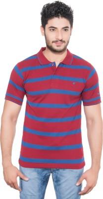 Fabilano Striped Men's Polo Neck Maroon, Blue T-Shirt