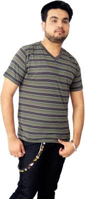Parv Collections Striped Men's V-neck Green T-Shirt