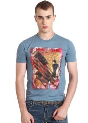 Teen Tees Graphic Print Men,s Round Neck Blue T-Shirt