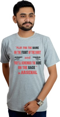 Swag Theory Printed Men's Round Neck Grey T-Shirt