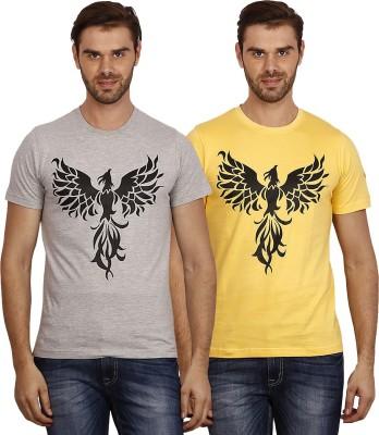 Crush on Craze Printed Men's Round Neck Grey, Yellow T-Shirt