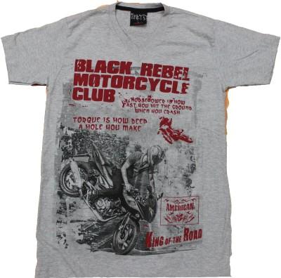 CLICKPURCH Printed Men's Round Neck Grey T-Shirt
