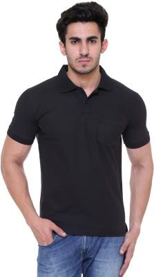 FREE RUNNER Solid Men's Polo Neck Black T-Shirt