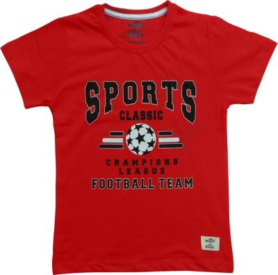 Kothari Printed Boy's Round Neck Red T-Shirt