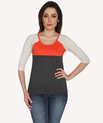 Bombay High Solid Women,s Round Neck Orange, Grey T-Shirt