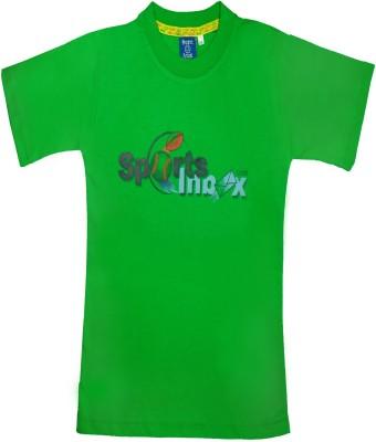 Sweet Angel Printed Girl's Round Neck Green T-Shirt