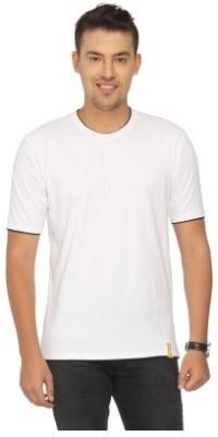 LF Solid Men's Round Neck White T-Shirt