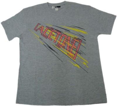 Acetone Solid Men's Round Neck Grey T-Shirt