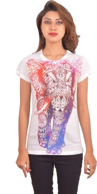 Blueash Graphic Print Women's Round Neck White T-Shirt