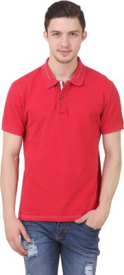 Roar and Growl Solid Men's Polo Neck Red T-Shirt