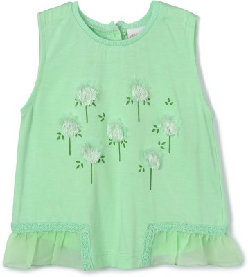 FS Mini Klub Printed Baby Girl's Round Neck Green T-Shirt