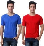 TeeMoods Solid Men's Henley Red, Blue T-...