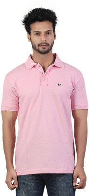Afylish Solid Men's Polo Neck Pink T-Shirt