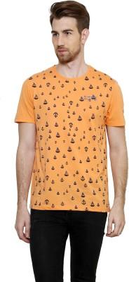 Freak,N by Cotton County Printed Men's Round Neck Orange T-Shirt
