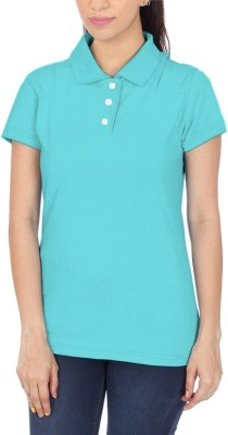POLUO Solid Women's Polo Light Blue T-Shirt