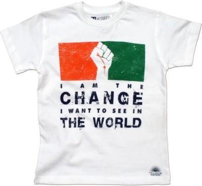 Tricolor Nation Graphic Print Boy's Round Neck White T-Shirt