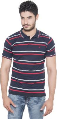 Fabilano Striped Men's Polo Neck Dark Blue, Red, Grey T-Shirt