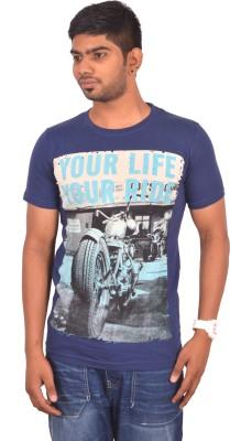 Rogue Printed Men's Round Neck Blue T-Shirt