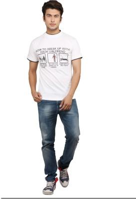 Chinese Printed Men's Round Neck White T-Shirt